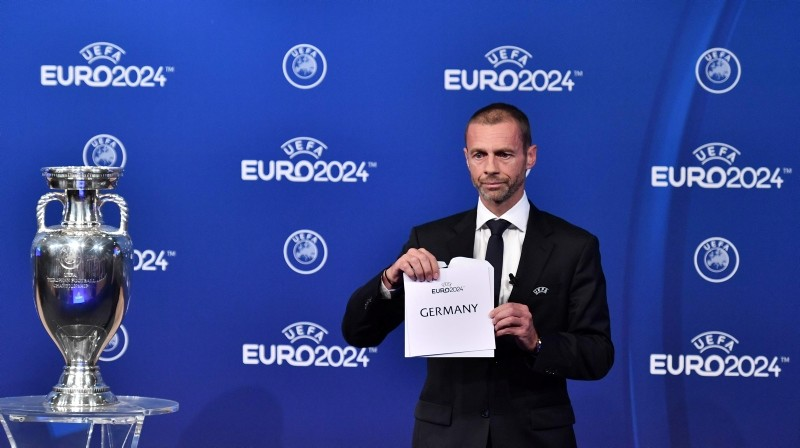 UEFA president Aleksander Ceferin announces that Germany was elected to host the Euro 2024 fooball tournament during a ceremony at the headquarters of the European football's governing body in Nyon on September 27, 2018. (AFP Photo)