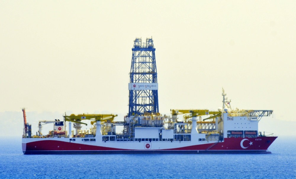 Turkeyu2019s first drillship, Fatih, seen off the shores of the Mediterranean city of Antalya.