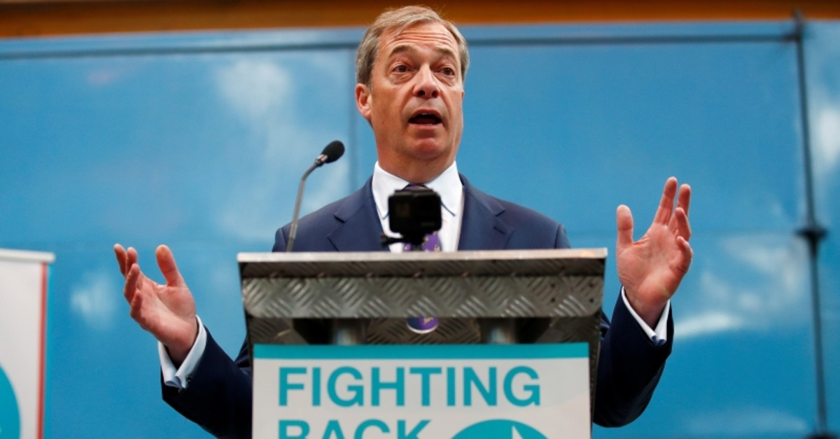 Nigel Farage speaks at the launch of the newly created 'Brexit Party' campaign for the European elections, in Coventry, Britain April 12, 2019. (Reuters Photo)
