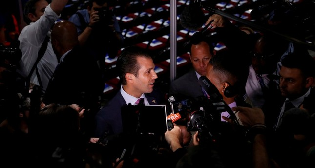 Donald Trump Jr. gives a television interview at the 2016 Republican National Convention in Cleveland, Ohio U.S. July 19, 2016.  (REUTERS Photo)