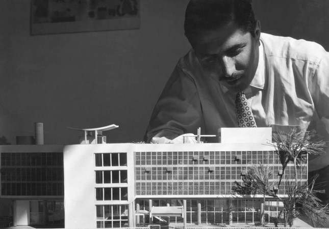 Turgut Cansever during his early years working on a model.
