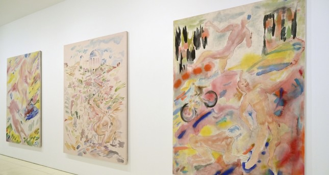 Paintings by Gus Van Sant are on display at the show Gus Van Sant: Recent Painting, Hollywood Boulevard at Vito Schnabel Projects.