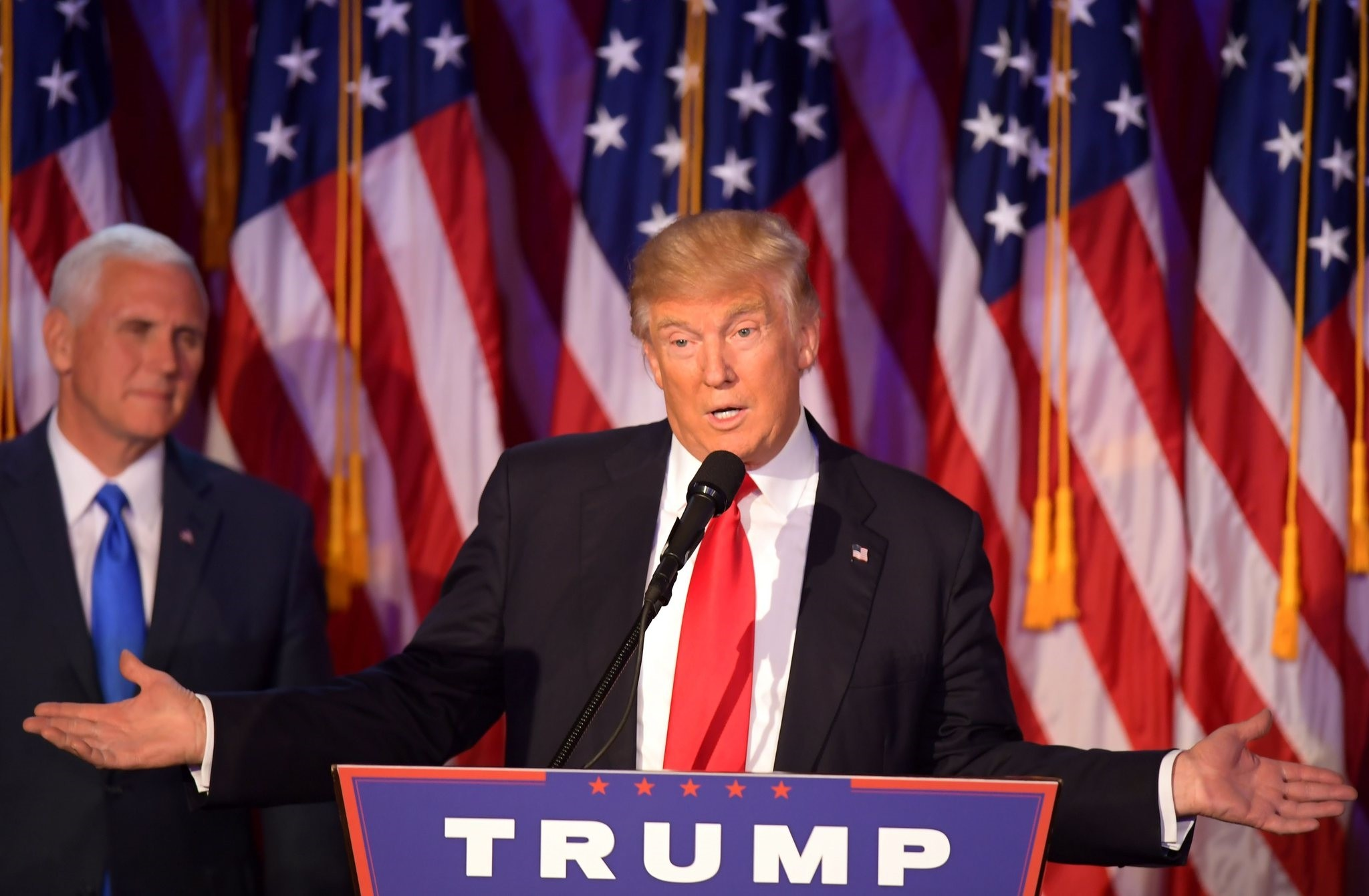 Republican presidential elect Donald Trump speaking during election night at the New York Hilton Midtown in New York.  (AFP Photo)