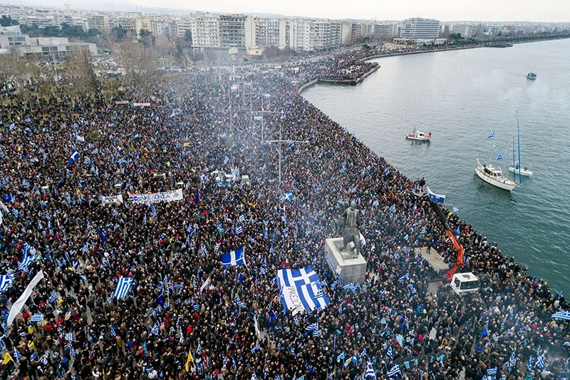 Thousands of protesters take part in a rally against the use of the term ,Macedonia, for the northern neighboring country's name, at the northern Greek city of Thessaloniki, Jan. 21, 2018. (AP Photo)