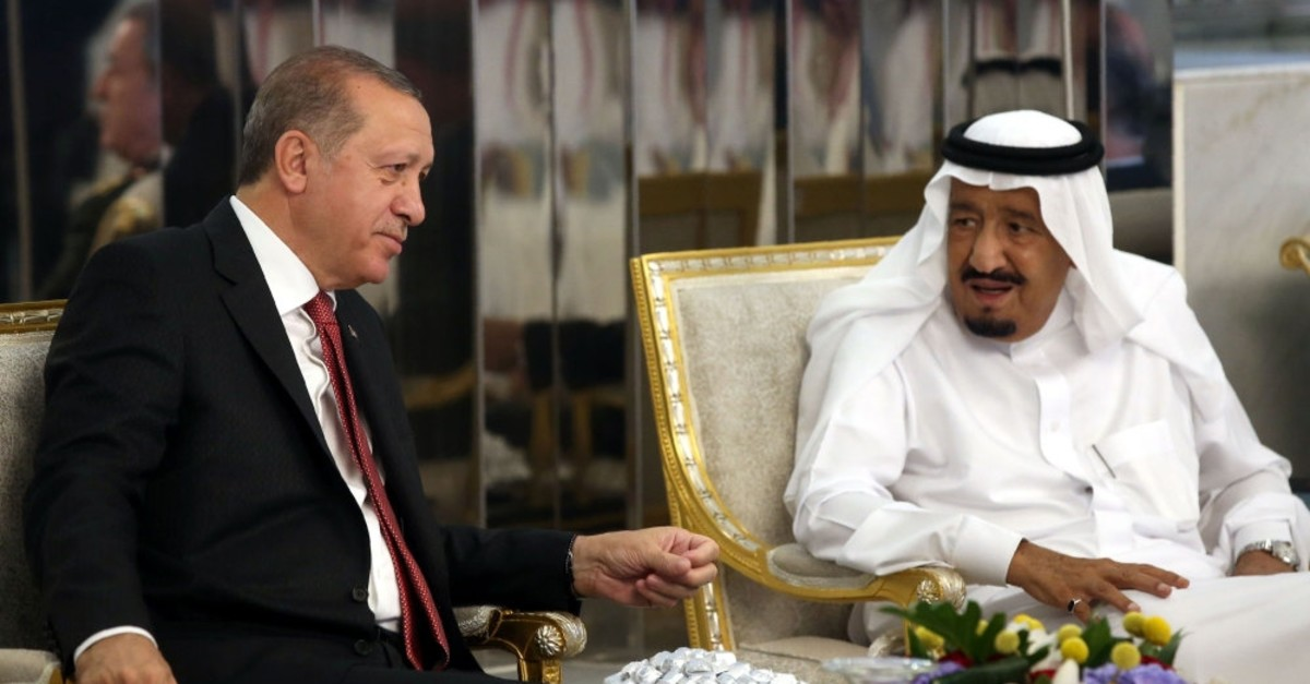President Recep Tayyip Erdou011fan meeting with Saudi Arabia's King Salman during an official visit in Jeddah, July 23, 2017.