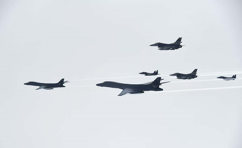 In this Saturday, July 8, 2017 photo provided by South Korea Defense Ministry, U.S. Air Force B-1B bombers, left and second from left, fly with South Korean and U.S. fighter jets over the Korean Peninsula, South Korea (AP Photo)