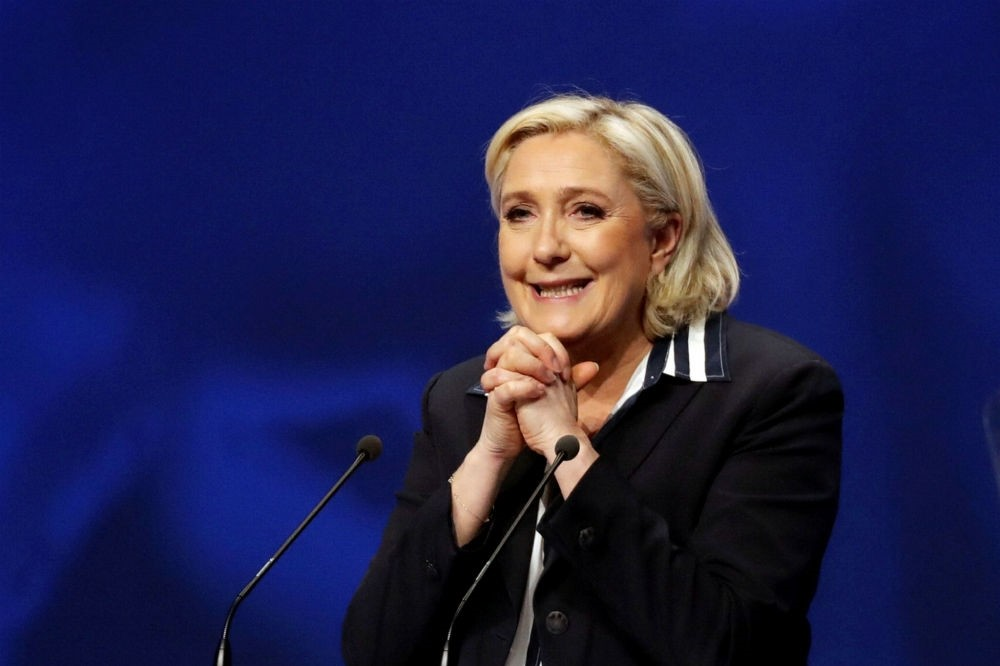 Marine Le Pen, French National Front (FN) political party leader and candidate for French 2017 presidential election, attends a campaign rally in Nice, France, April 27.