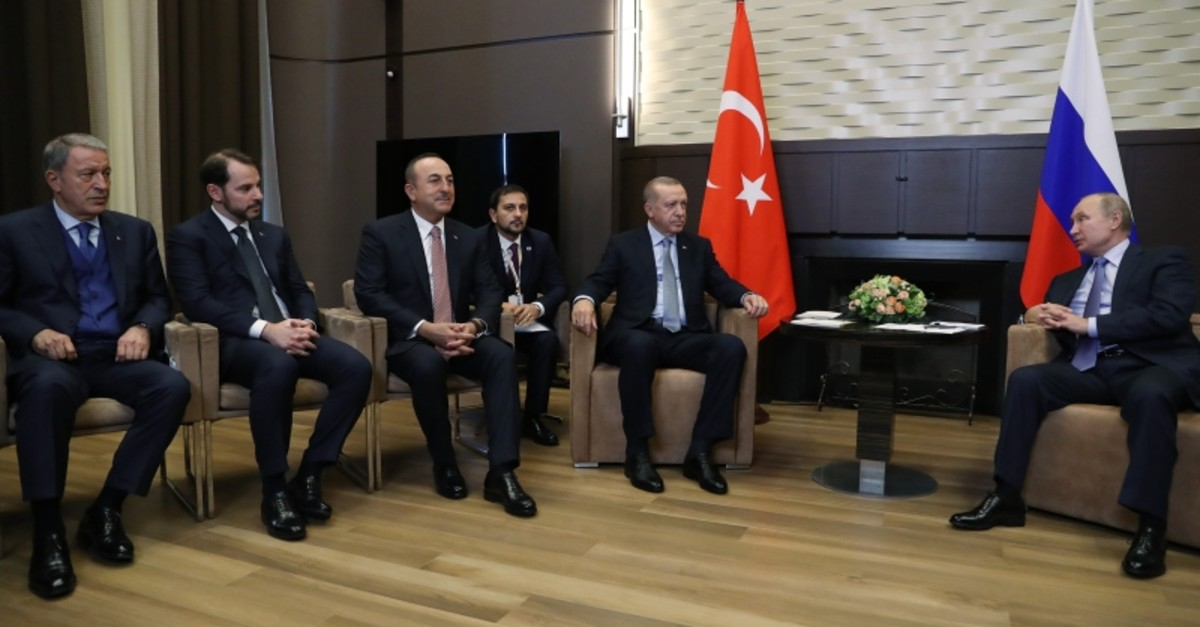 National Defense Minister Akar, Treasury Minister Albayrak, Foreign Minister u00c7avuu015fou011flu, Presidents Erdou011fan and Putin during a bilateral meeting on 22.10.2019 (Sabah Photo)