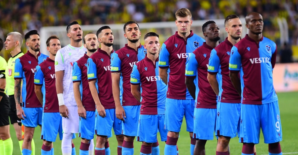 Trabzonspor squad during the recitation of the national anthem before the Trabzonspor-Fenerbahu00e7e match, Sept. 1, 2019.
