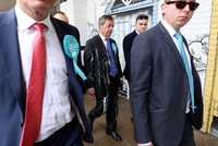 Brexit party leader Farage doused with milkshake while campaigning in Newcastle