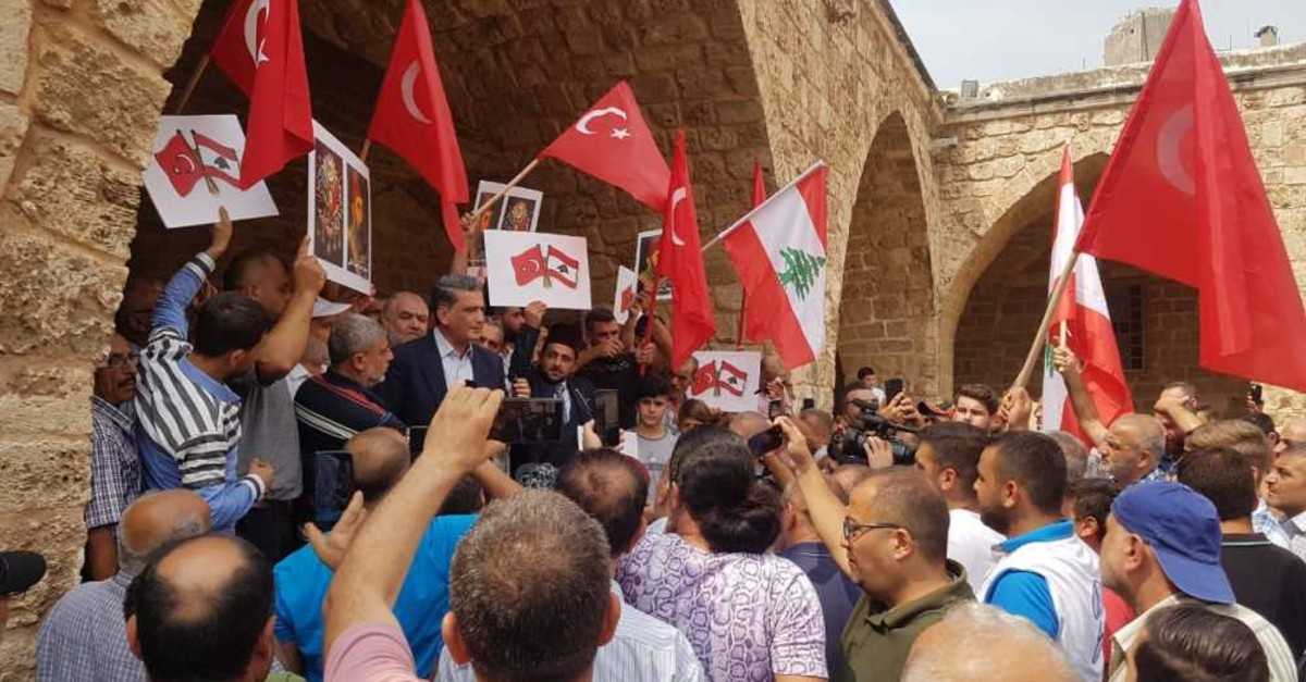People protest Lebanese President Michel Aoun's remarks on Ottoman heritage following Friday prayers in Tripoli, Sept. 6, 2019.