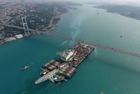 Giant vessel to be used in TurkStream's construction transits Istanbul's Bosporus