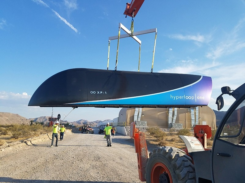 This image released by Hyperloop One shows the first Prototype of Hyperloop One Pod on July 12, 2017. (via AFP)
