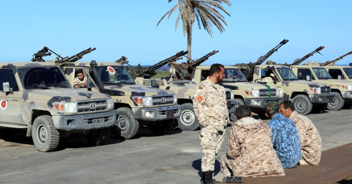 Military vehicles of Misrata forces, under the protection of Tripoli's forces, are seen in Tajura neighborhood, east of Tripoli, Libya April 6, 2019. (Reuters Photo)