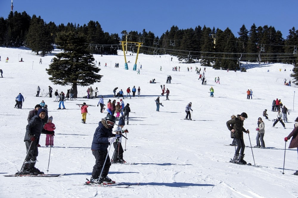 People skiing at Uludau011f in the northwestern province of Bursa.