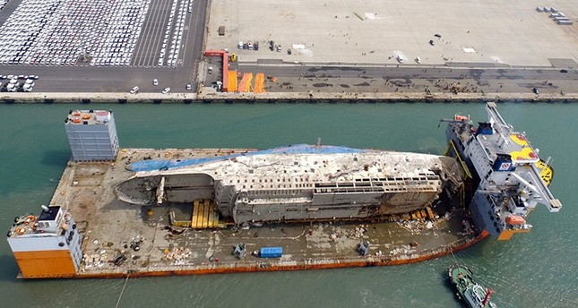 The Sewol Ferry Lifted From Where It Sank Some Three Years Ago In The Countrys