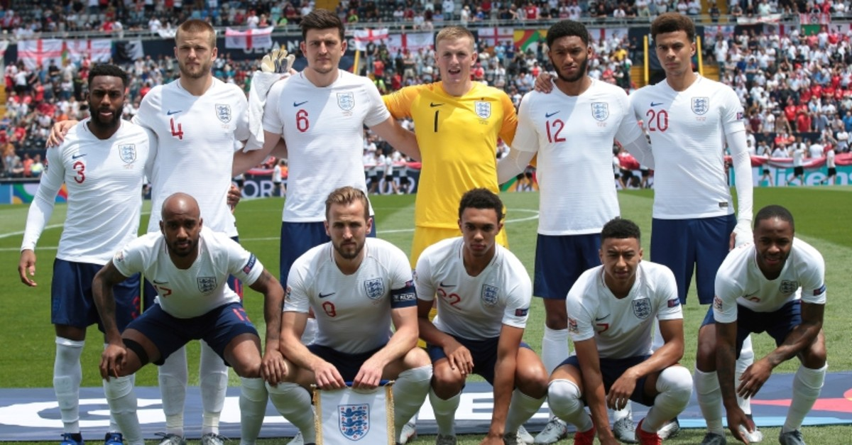 England players pose for a team picture before the UEFA Nations League third place soccer match between Switzerland and England at the D. Afonso Henriques stadium in Guimaraes, Portugal, Sunday, June 9, 2019. (AP Photo)