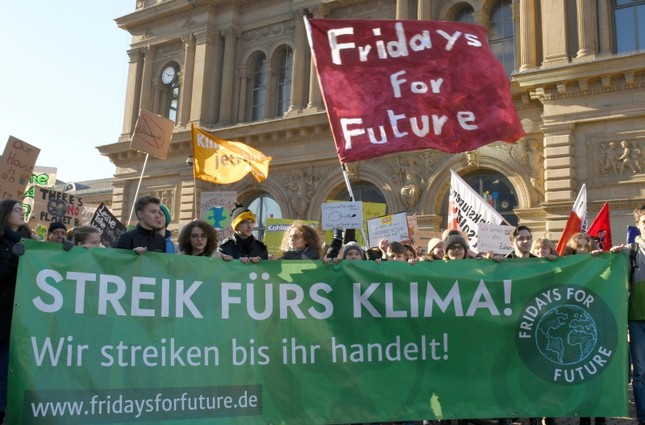 Students protest during a 'Fridays for Future' school strike for climate action in Mainz, Germany. (AP Photo)