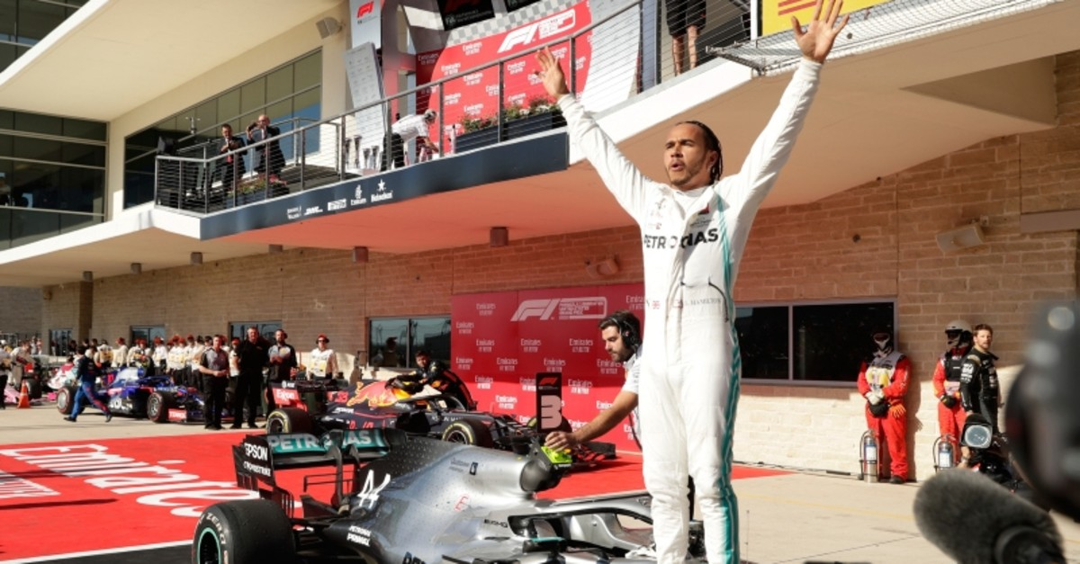 Mercedes driver Lewis Hamilton, of Britain, reacts following the Formula One U.S. Grand Prix auto race at the Circuit of the Americas, Sunday, Nov. 3, 2019, in Austin, Texas. (AP Photo)