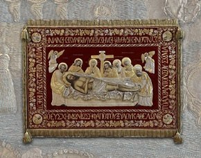 Epitaph cover from Aghios Athanasios Cathedral, silk, silver and gold-plated metal, attributed to a workshop in Istanbul, 19th century.