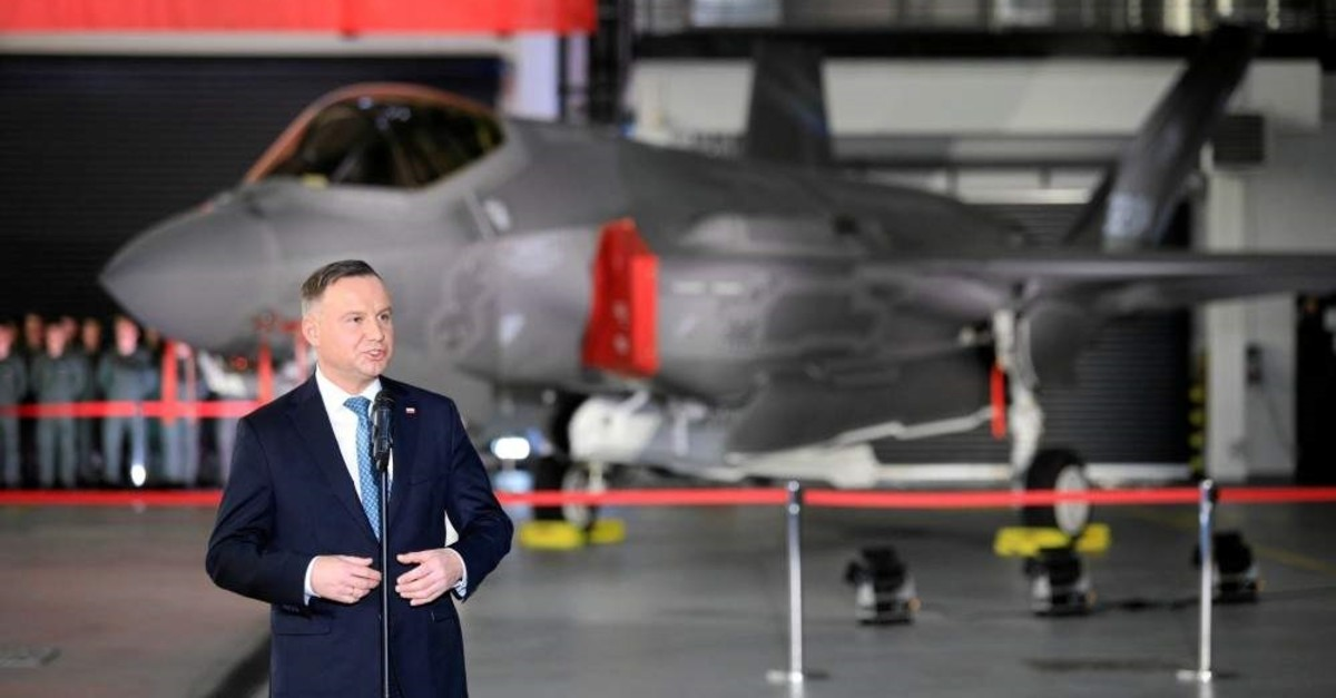 Poland's President Andrzej Duda attends a ceremony to sign a contract for the purchase of 32 Lockheed Martin F-35 fighter jets for the Polish Air Force in Deblin, Poland, Jan. 31, 2020. (Agencja Gazeta via Reuters)
