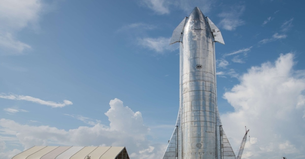 A prototype of SpaceX's Starship spacecraft is seen at the company's Texas launch facility on September 28, 2019 in Boca Chica near Brownsville, Texas. (AFP Photo)