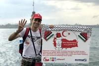 """Der palästinensische Aktivist Aladdin al-Fares begann am Freitag mit einem """"Dank-Marsch"""