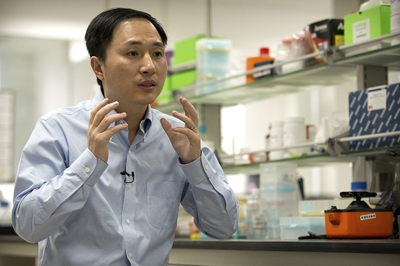 In this Oct. 10, 2018 photo, He Jiankui speaks during an interview at a laboratory in Shenzhen in southern China's Guangdong province. (AP Photo)