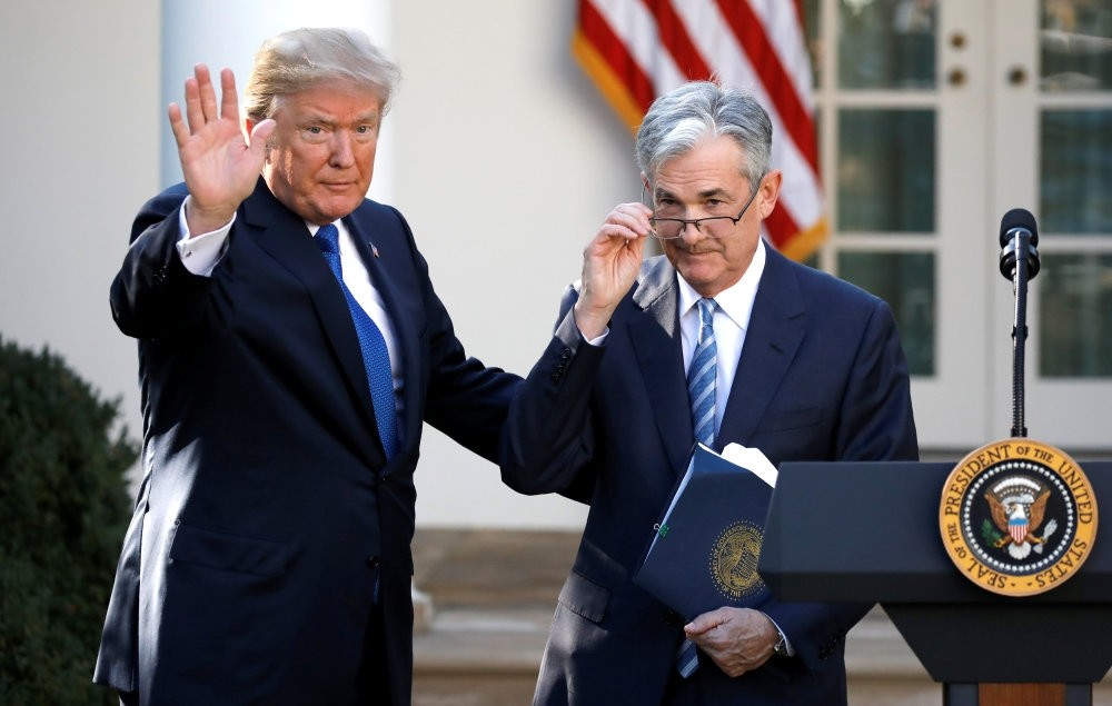 U.S. President Trump (L) gestures with Jerome Powell, his nominee to become chair of the U.S. Federal Reserve, at the White House, Washington, Nov. 3.