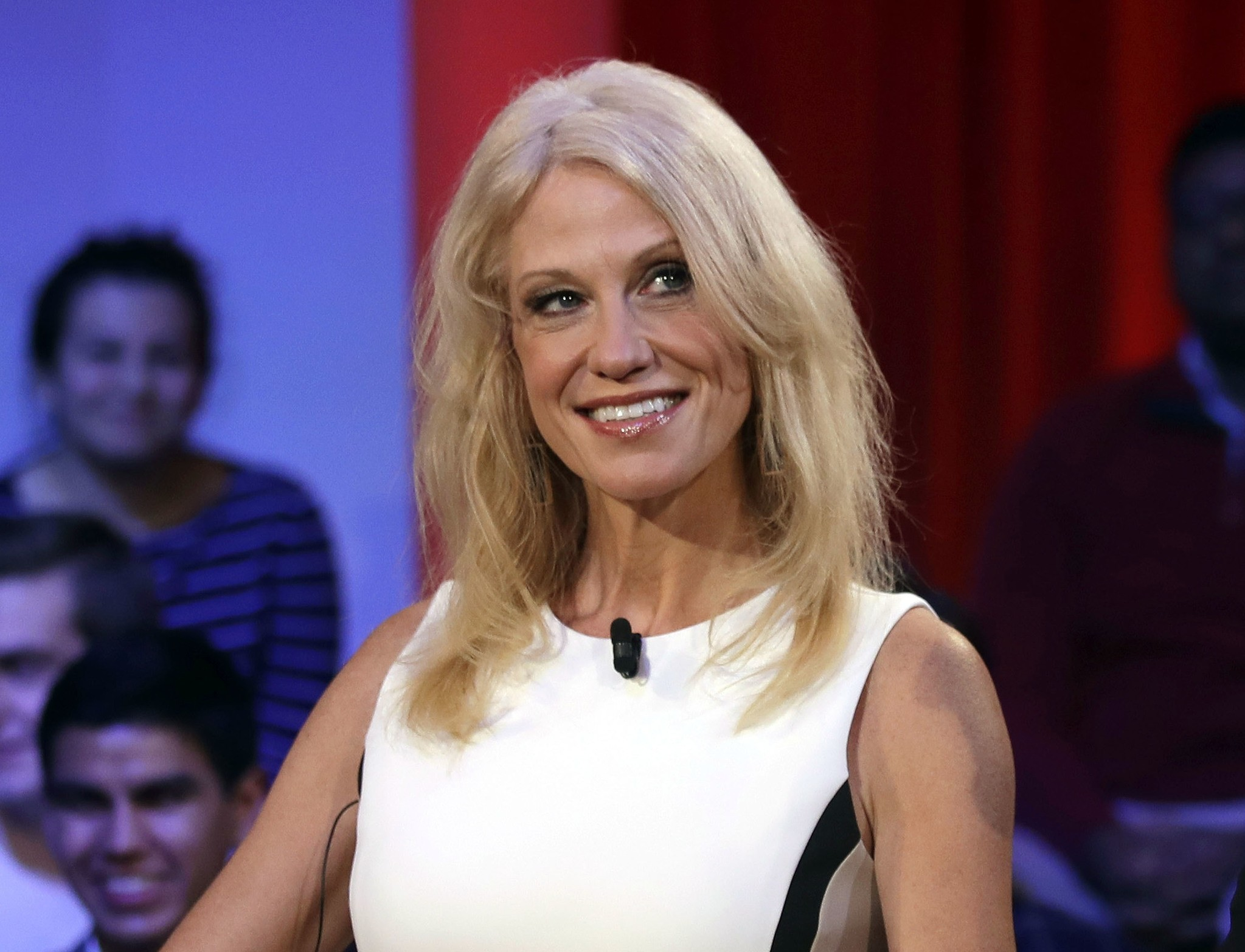 Kellyanne Conway prior to a forum at Harvard University's Kennedy School of Government in Cambridge. (AP Photo)