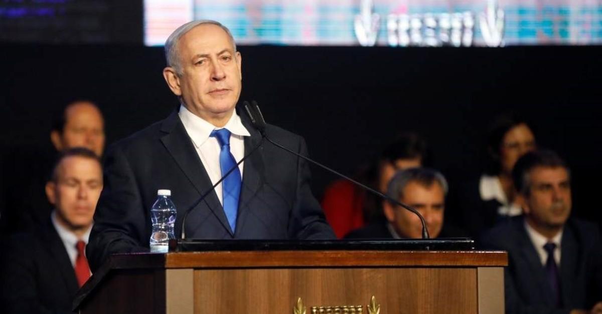 Israeli Prime Minister Benjamin Netanyahu addresses members of his right-wing party bloc at a conference, Tel Aviv, Nov. 17, 2019. (REUTERS Photo)