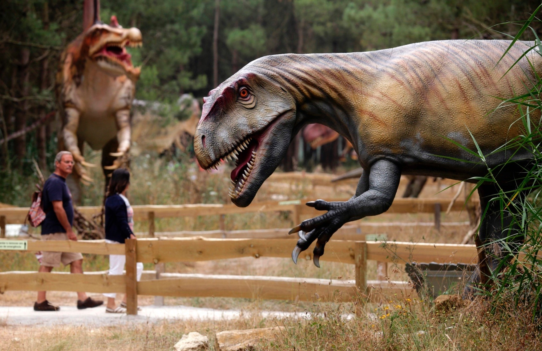 People visit the Dino Park, an outdoor museum with more than 120 models of dinosaurs, in Lourinha.