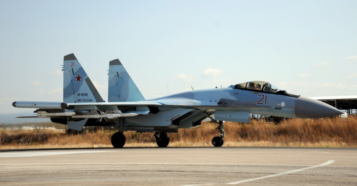 A Russian Sukhoi Su-35 fighter lands at the Russian military base of Hmeimim near Syria's Mediterranean coast on September 26, 2019. (AFP Photo)