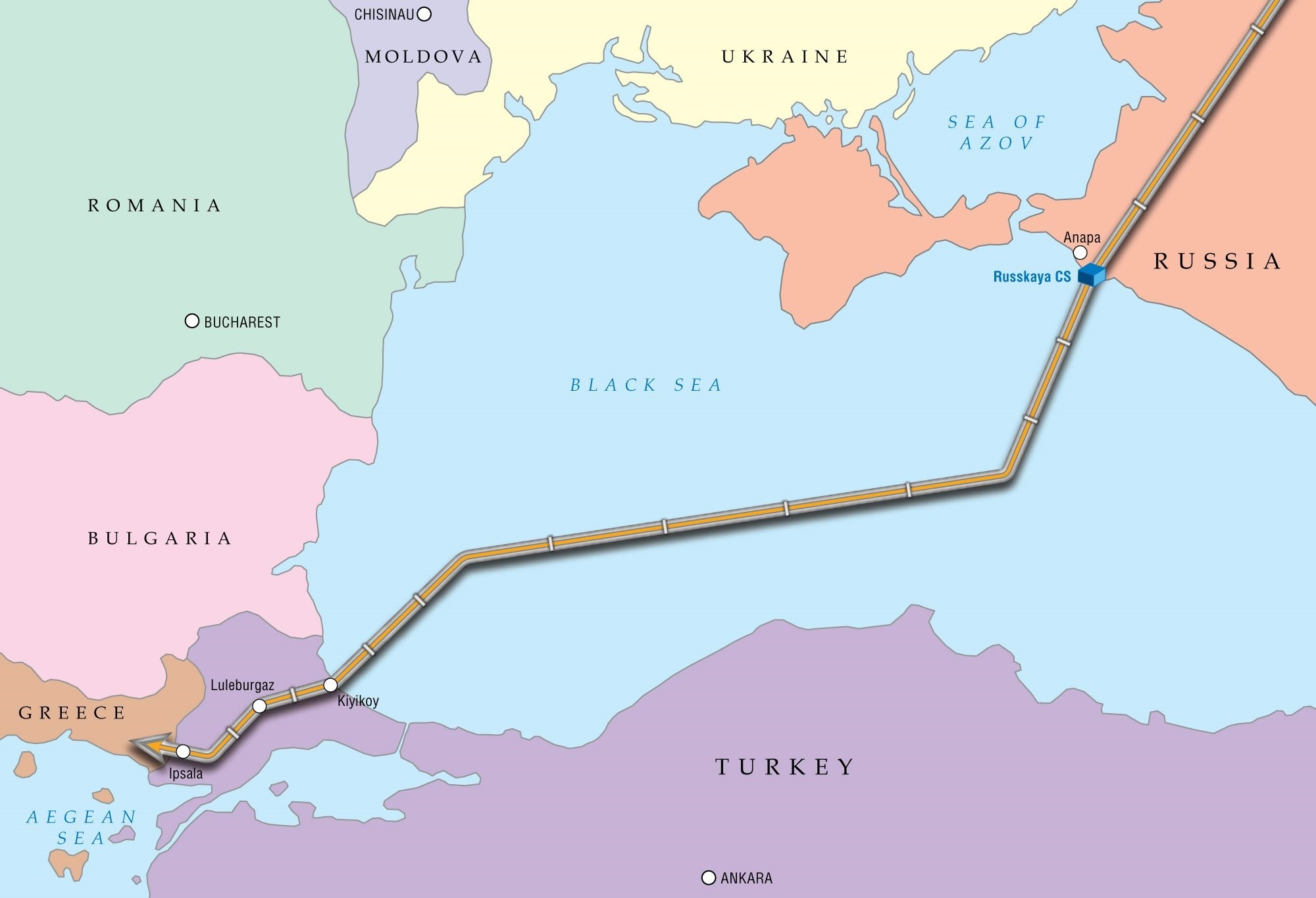 The Turkstream project will carry Russian natural gas to europe. The offshore part of the pipeline will cross the black sea bed and run 910 km.