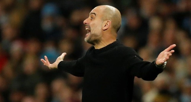 Guardiola gestures from the touchline during the match against Sheffield United in Manchester, Dec. 29, 2019 Reuters Photo
