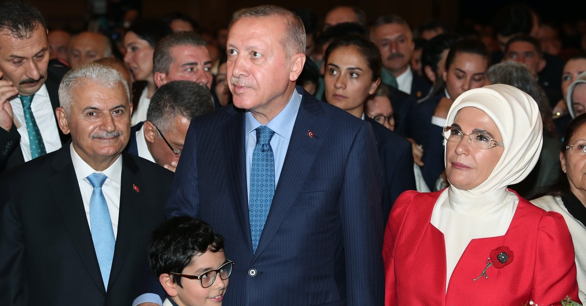 President Recep Tayyip Erdou011fan and first lady Emine Erdou011fan attend the AK Partyu2019s 18th anniversary ceremony, Aug. 23, 2019.