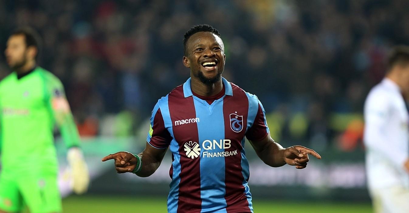 Trabzonsporu2019s Nigerian international Ogenyi Onazi celebrates after scoring a goal.
