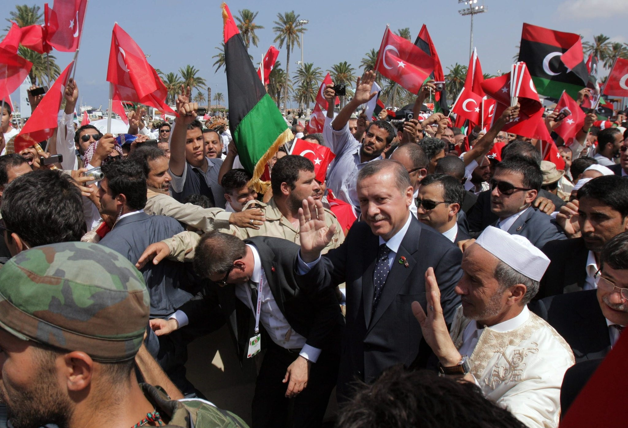 President Recep Tayyip Erdogan attends Friday prayers in Tripoli on Sept. 16, 2011, on the final leg of his ,Arab Spring Tour.u201d