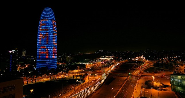 The Agbar tower is illuminated with EMA BCN presenting their candidature to move the European Medicines Agency (EMA) to Barcelona after Brexit, in Barcelona, Spain, July 18, 2017. (Reuters Photo)