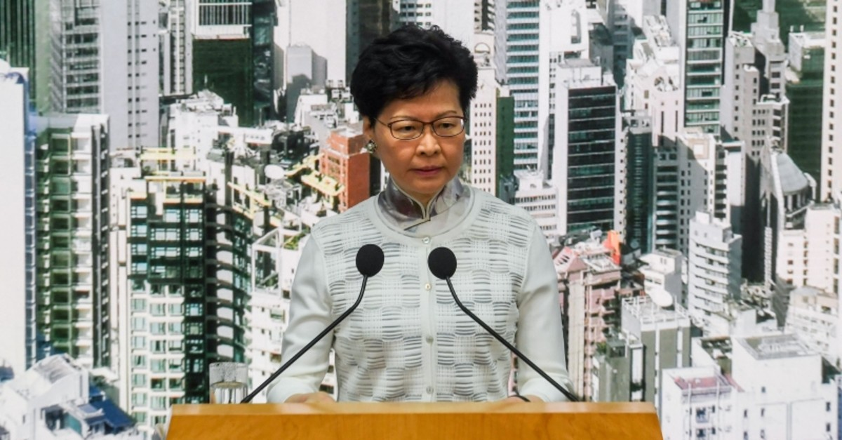 Hong Kong Chief Executive Carrie Lam speaks during a press conference at the government headquarters in Hong Kong on June 15, 2019. (AFP Photo)