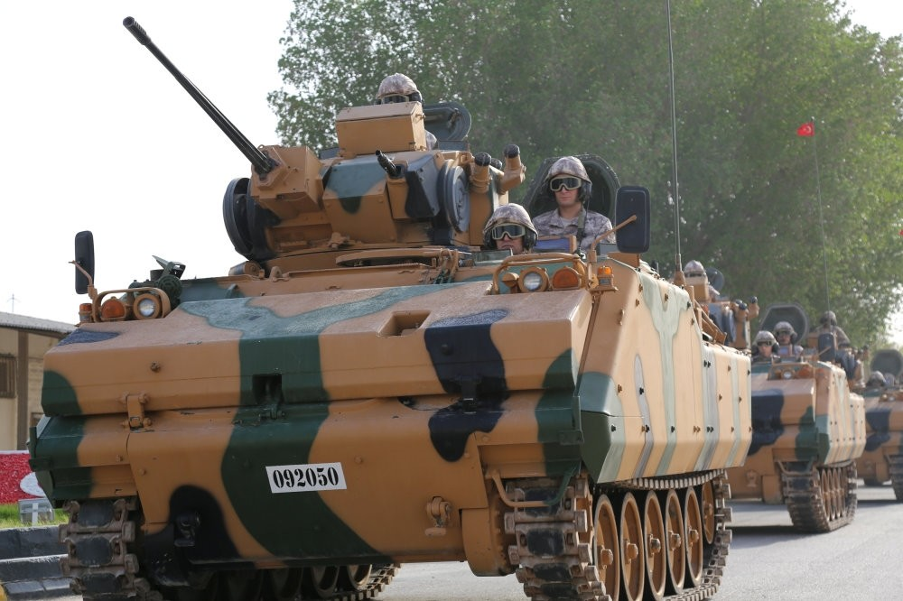 A Turkish APC at Turkeyu2019s military base in Doha, Qatar, June 18, as part of the program to train local forces.
