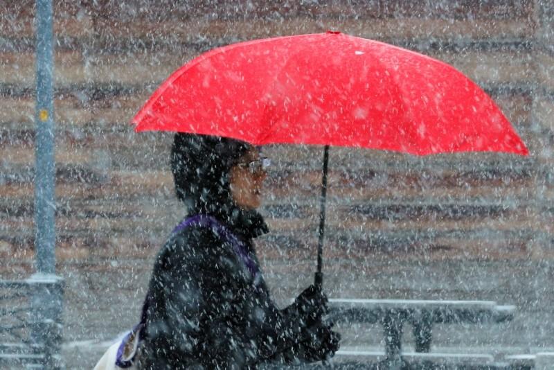 A pedestrian walks through a winter snow storm in Cambridge, Massachusetts, U.S., February 12, 2019. (Reuters Photo)