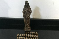 Ancient coins, figurine confiscated by police in Turkey's Antalya