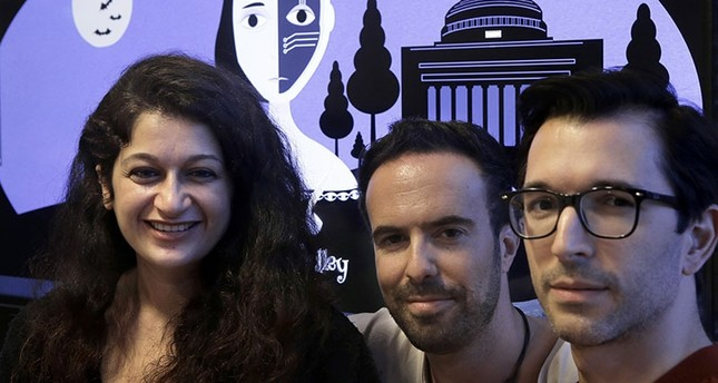 The bot's makers pose for a photo: R to L MIT postdoctoral associate Pınar Yanardağ, of Istanbul, Turkey, research scientist Manuel Cebrian, of Madrid, Spain, and associate professor Iyad Rahwan, of Aleppo, Syria AP Photo