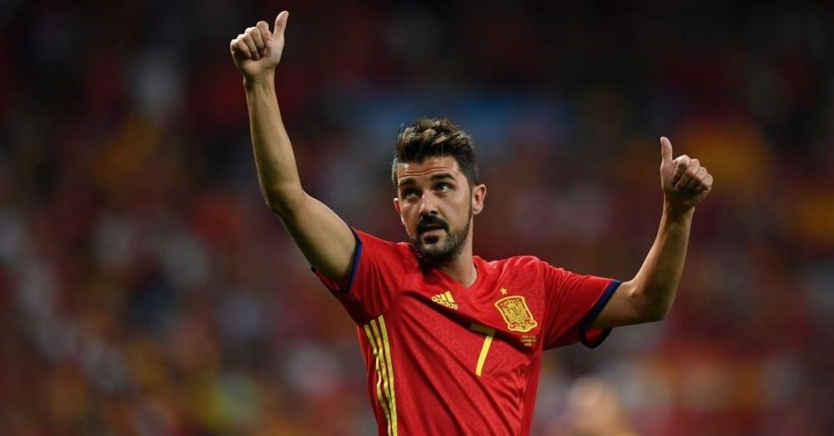Villa waves as he celebrates the victory at the end of the World Cup 2018 qualifier match against Italy at the Santiago Bernabeu stadium in Madrid, Spain, Sept. 2, 2017. (AFP Photo)