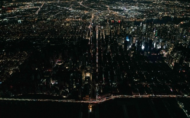 A large section of Manhattan's Upper West Side and Midtown neighborhoods are seen in darkness from above during a major power outage on July 13, 2019 in New York City. (Scott Heins/Getty Images/AFP)