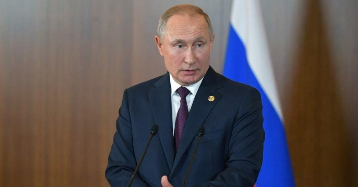 Russian President Vladimir Putin speaks at a news conference after the BRICS summit in Brasilia, Brazil Nov.14, 2019 (Reuters Photo)
