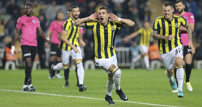 Fenerbahçe's Roman Neustadter celebrates his goal against Kasımpaşa in Turkish Süper Lig Week 14 match in Ülker Stadium, Istanbul, Dec. 26, 2017. (AA Photo)