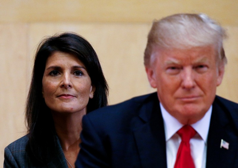U.S. Ambassador to the UN Nikki Haley (L) and U.S. President Donald Trump participate in a session on reforming the United Nations at UN Headquarters in New York, U.S., September 18, 2017. (REUTERS Photo)