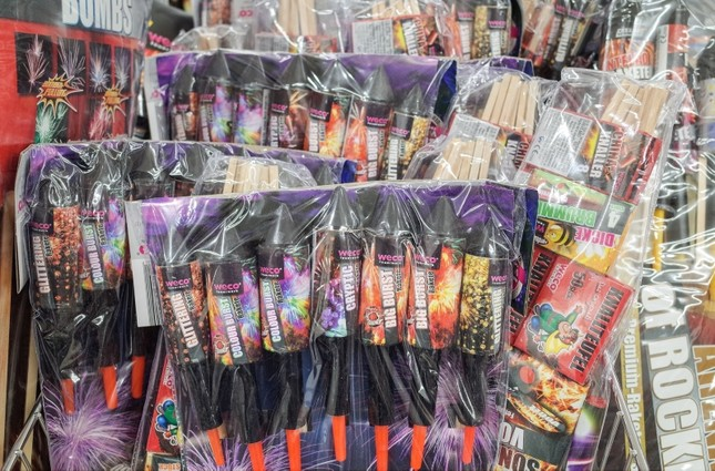 Various fireworks products are displayed in a supermarket in Berlin, Germany. (EPA Photo)